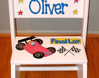 Step stool - Hand painted and Personalized with Cars