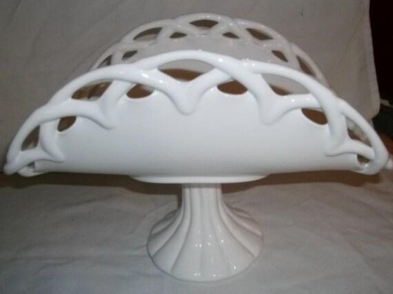 Fenton Glass Banana Bowl Lace Edge Milk Glass Console