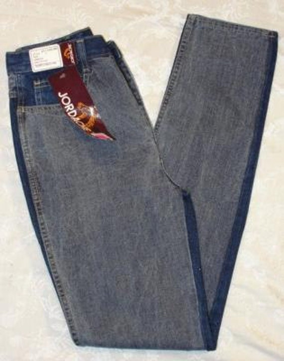 Vintage DEADSTOCK 1980s JORDACHE Acid Wash Two Tone Skinny Jeans 4/6