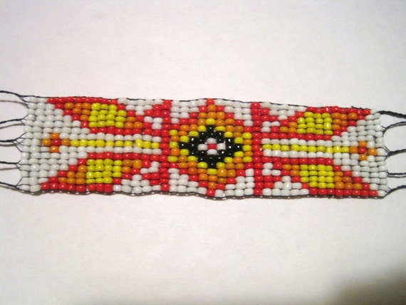 Native American Seed Bead Bracelet - Red Orange Yelllow Black & White