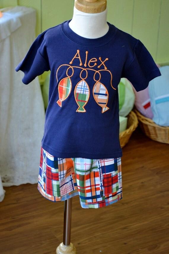 Items similar to boy 39 s madras print shorts applique for Applique shirts for sale