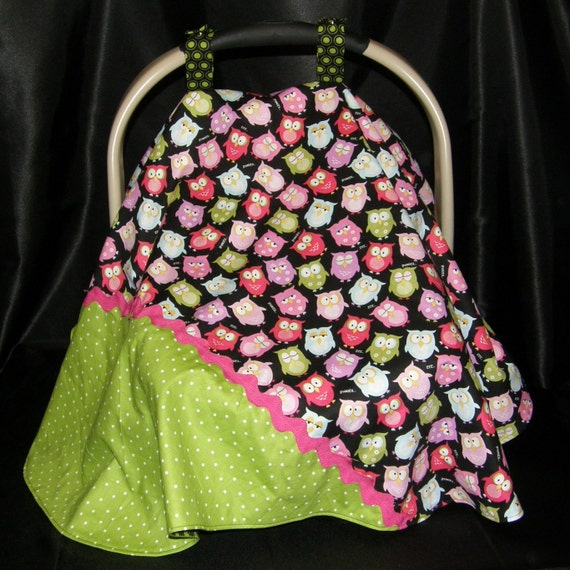 Car Seat Canopy - Owls and dots