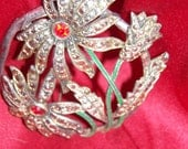 Large Vintage Flowers Brooch Silver Metal with Red and Silver Glass