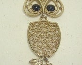 Vintage Sarah Conventry Moveable Owl  Goldtone Necklace