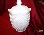 Hobnail Canister White Glass