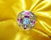 Vintage Multi Rhineston Crystal Brooch
