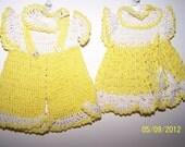 Pot Holders Yellow N White Crocheted