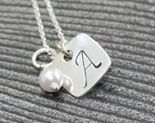 Dainty Sterling silver monogrammed Initial rounded square necklace with pearl or birthstone crystal PERSONALIZED