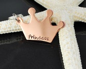 pet I.D. tag - key fob - Personalized copper tiara shaped ID - Hand stamped - Princess crown