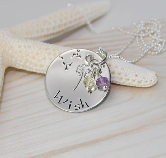 WISH... Inspirational Personalized hand stamped circle pendant gift. Authentic birthstone necklace. Amethyst and citrine gemstones pictured.