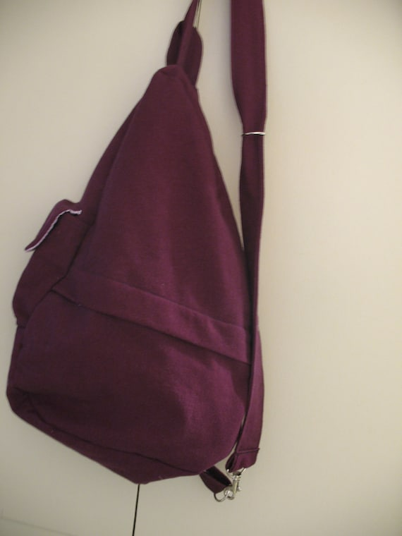 Eggplant colored Backpack with Lavender Gingham Lining