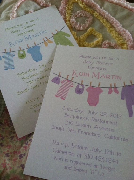 Printed Cute Clothes Line Baby Shower Invitation Size A7