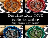Destination: LOVE - Long Distance Relationship Personalized Map in Resin Bottle Cap Pendant, Hearts Charm - CUSTOM Made to Order