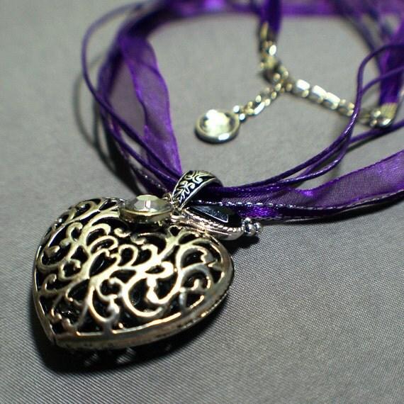 "Ribbon Cord Necklace Purple with Victorian Silver Heart Pendant & Rhinestone Charms ""Purple Passion"""