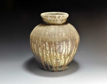 Shigaraki, anagama, ten-day anagama wood firing, with natural ash deposits pot. tsubo-33
