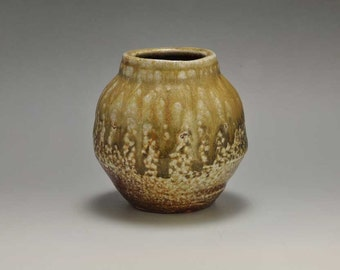Shigaraki, anagama, ten-day anagama wood firing, with natural ash deposits wall hanging flower vase, kakeuzu-27