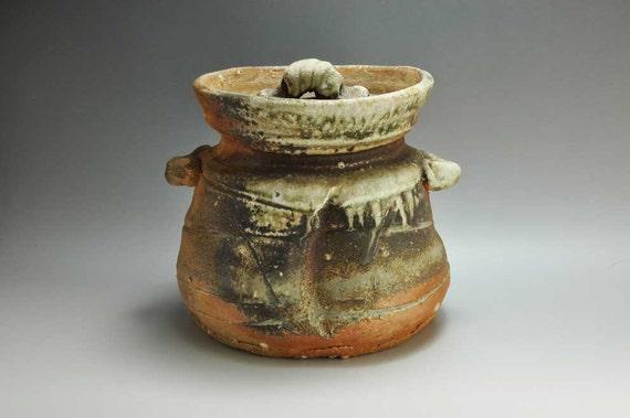 Shigaraki, anagama, ten-day anagama wood firing, with natural ash deposits water jar. mizu-44