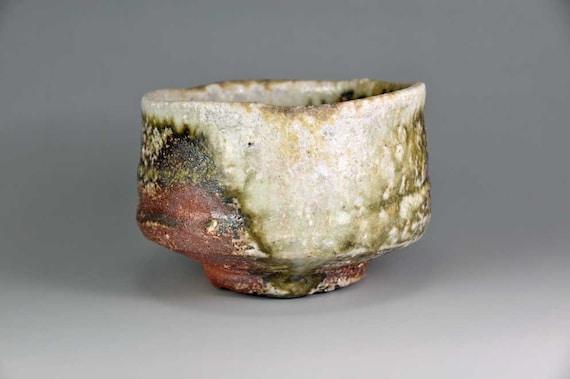 Shigaraki, anagama, ten-day anagama wood firing, with natural ash deposits tea bowl. chawan-61