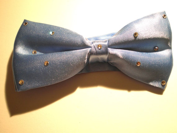 Sky Blue Satin Rhinestone Bow Tie For Men or Women