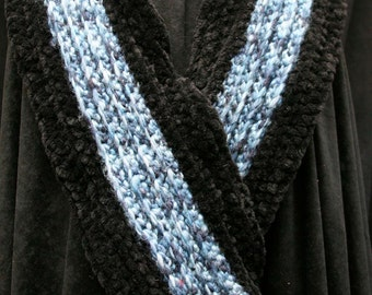 Blue Wool and Black Chenille Scarf
