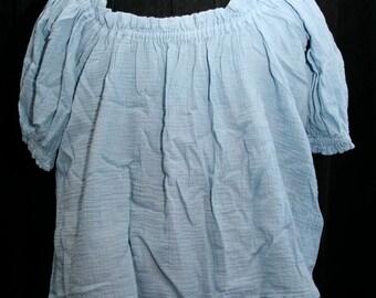 Renaissance Blouse - Medium Sleeve - Medium - Wedgewood Blue Cotton Gauze