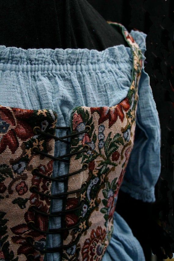 Renaissance Style Peasant Vest - Reversible - Wildflower Tapestry/Green Cotton Duck - Size 0