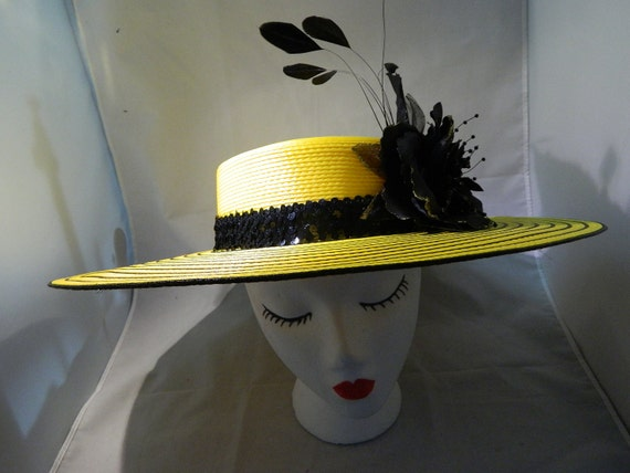 Womens hats - Yellow and black wide brim hat