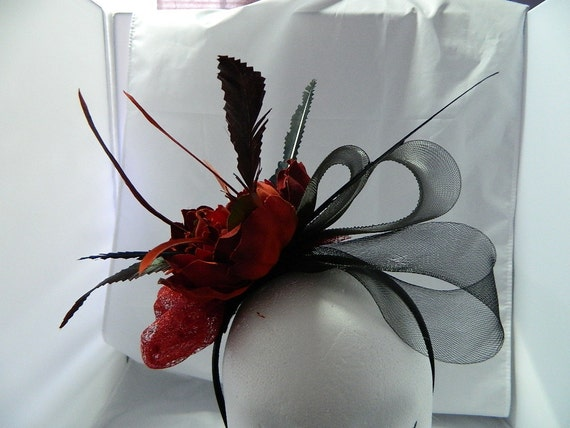 Womens hats - Red flower and feather fascinator
