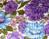 Vintage Fabric Purple Flower Cotton Polyester Print 1/2 Yard