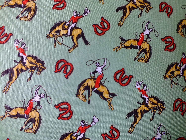 vintage cowboy fabric eBay