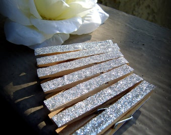 Set of 50 shabby chic glitter clothespins