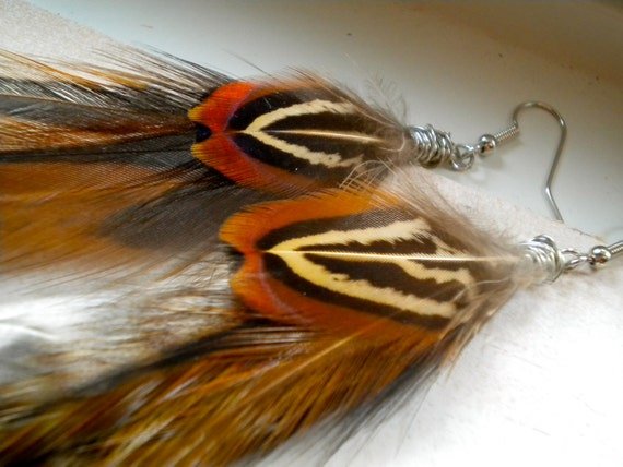 Woodland Fairy Brown Feather Earrings