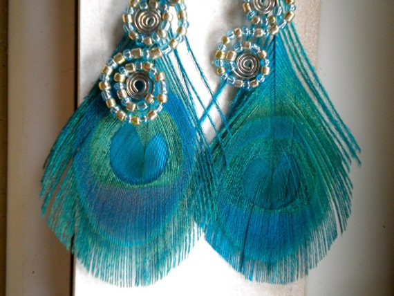 Turquoise Mermaid - Peacock Feather Earrings