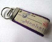 Keychain Key fob Keyring Manhatan Purple and linen neutral Paris Rome New York Pink roses