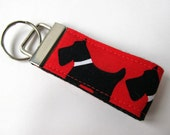 Cute Keychain key fob Red white and black scottie dogs