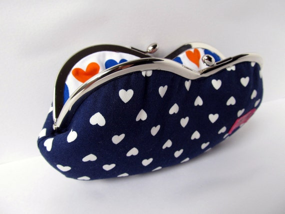 Sunglass case Eye glasses Case Frame purse navy blue white hearts