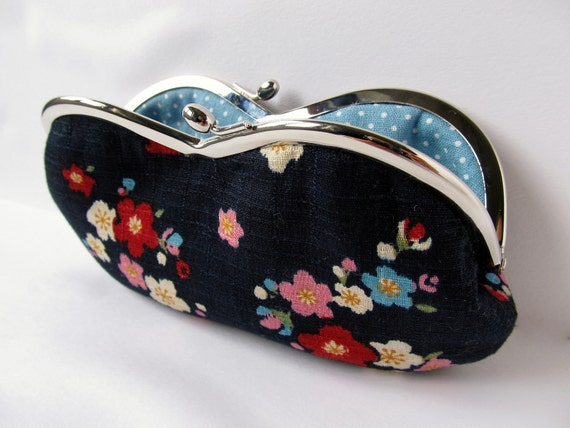 Soft eyeglass case Eyeglasses Case navy blue turquoise blue sakura cherry blossoms in pink and red