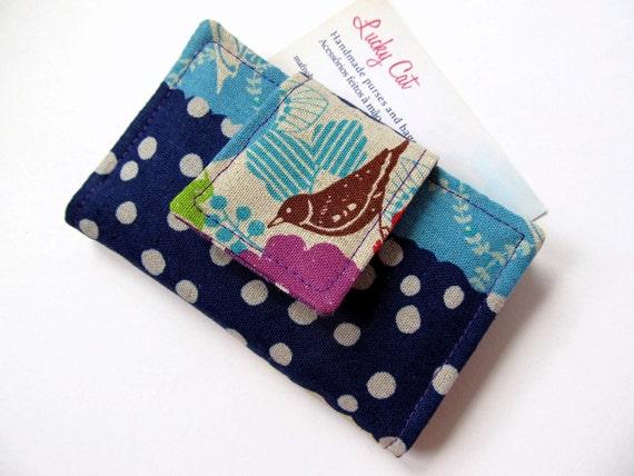 Business card wallet Bird Flower Navy blue Purple Turquoise blue Japanese fabric