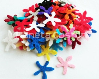 Felt Flower Shapes. 50 pieces. Size 23mm. For crafts, scrapbooking, gift tags, headbands, hair clips and more
