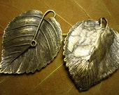 6pcs 45x35mm antique bronze leaf charm pendant  B381M24335