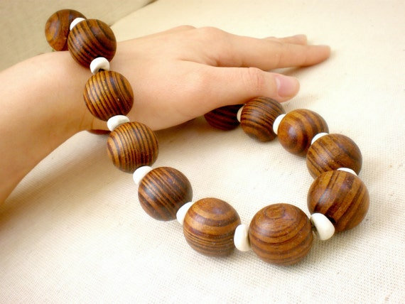 wood necklace - tribal jewelry, chunky beaded necklace, Bold statement necklace, ceramic, brown