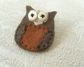 Brooch Owl Felt And Button, Bernie The Owl, Needs A Loving Home