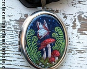 Perfume Locket Pendant  - Vintage Romance 'Evening Toadstools'