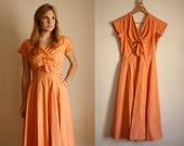 Vintage 1950s Orange Long Full Skirt Dress