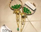 Hoop copper emerald swarovski earrings: Midway to Bogotá
