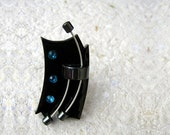 Black & blue polymer clay ring ready to ship