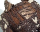 PARIS . AMAZING 3D Wearable Art Coat . Wool Felt . Chocolate Splashes L large Unique France New Unworn
