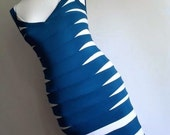 The Hot Bandage . Bodycon Dress Party Cocktail 1980s Structured Colorblock Teal & White XS