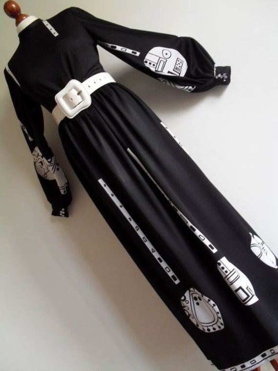 Reserved . PER SPOOK . Signed Industrial Op Art Print Dress By A Famous Norwegian Master M medium 70s