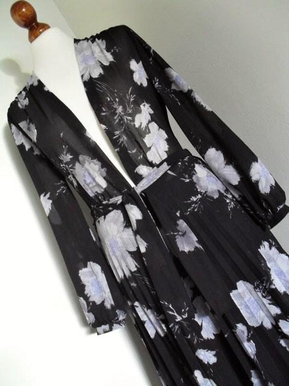 GASSLER . Midnight Flowers . Beautiful Print Dress & Sash Midi Best Cut . 1970s Ultra Rare S small